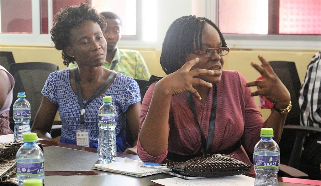 Madam Wilhelmina Elorm Kuwornu, part of the CSIR-SARI socio-economic team talking about strategies. Photo: R Oteng-Frimpong, Ghana