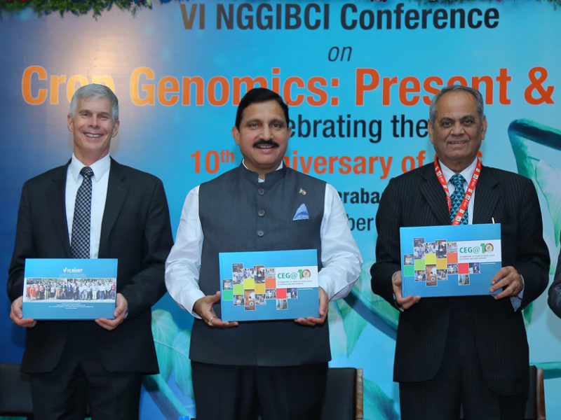 Presentation of the brochure celebrating ten years of the Centre of Excellence in Genomics (CEG) to Chief Guest Mr YS Chowdary, Minister of State for Science & Technology and Earth Sciences, Government of India, and other dignitaries, at ICRISAT, Patancheru