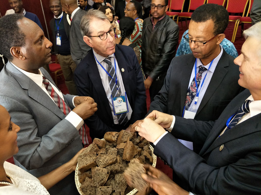 'Breaking the bread', symbolizing resilience, nutrition, and profitability at the launch of CRP Grain Legumes and Dryland Cereals. Dr. Eyasu Abraha Alle, Minister of Agriculture and Natural Resources, Ethiopia, launched the programme at Addis Ababa.