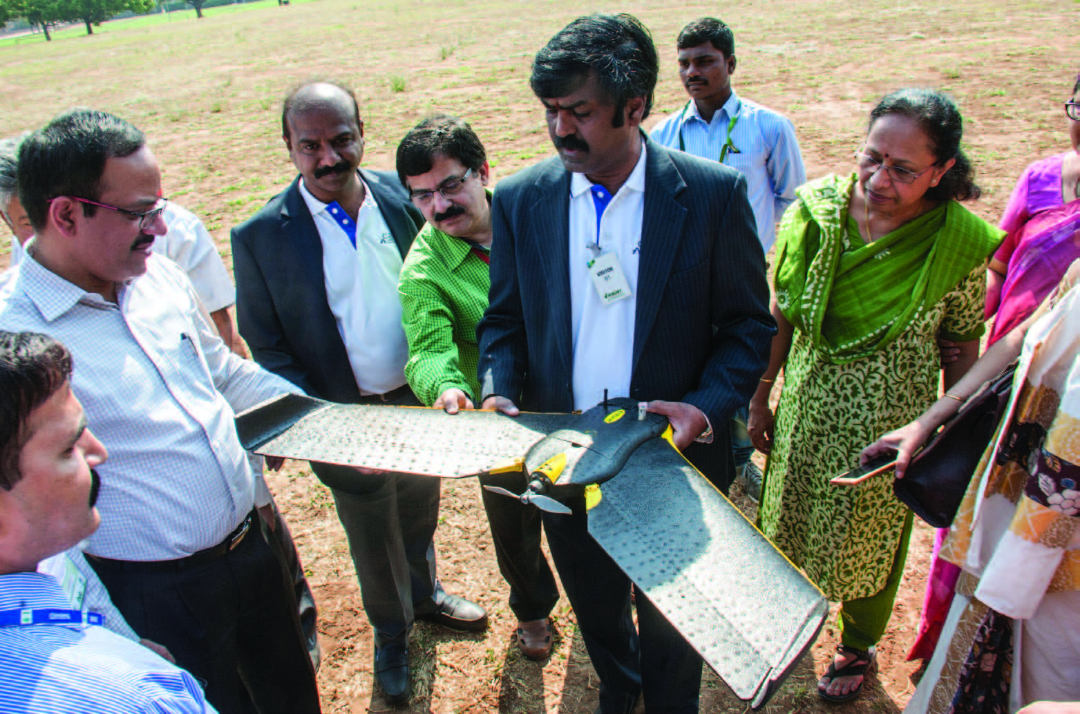 Vinod Kumar Samanthul, Director, Aegis, demonstrates a drone. Photo: PS Rao, ICRISAT