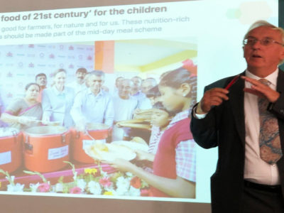 Dr Nigel Poole, former Chair of the ICRISAT Governing Board, making a presentation. Photo: RK Varshney, ICRISAT
