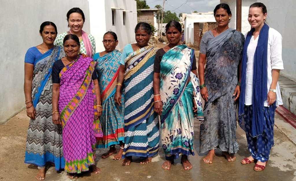 Dr Lilly Lim-Camacho (second from left) and Dr Jessica Bogard (far right) with women farmers at Aurapalle, Telangana, India.
