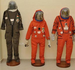 Space suits developed by the ISRO for the first Indian human mission.