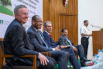 (L-R) Dr Peter Carberry, Director General (Acting), ICRISAT; Dr Paco Sereme, ICRISAT Governing Board Chair Designate; Dr Nigel Kerby, Chair, ICRISAT Governing Board; Dr Pooran Gaur, Research Program Director - Asia, ICRISAT; and Dr Suhas P Wani, former Research Program Director - Asia, ICRISAT, share a light moment at the launch of Dr Wani's book. Photo: S Punna, ICRISAT