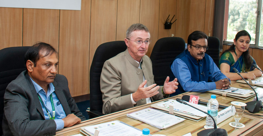 (L-R) Dr. Pooran Gaur, Dr. Peter Carberry, Dr. Akhilesh Gupta, and Dr. Mamta Sharma interacting with the media before the launch of new activities of Climate Change Research for Plant Protection (CoE-CCRPP), supported by Department of Science and Technology (DST).