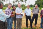 Interacting with groundnut farmers in Kondampally village. Photo: S Banda, ICRISAT
