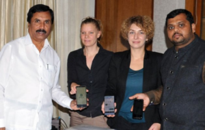 (L-R) Mr NH Reddy, Ms S Strey, Ms Bianca Kummer (PEAT) and Mr Satish Nagaraji (ICRISAT) at the launch of Kannada version of Plantix App. Photo: Udayavani