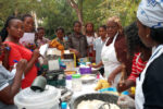 A demonstration on mixing sorghum flour into cake batter in Adani-Omor Staple Crop Processing Zone (SCPZ) South-Eastern Nigeria.