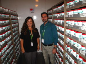 The ICRISAT gene bank holds around 126,000 seed accessions. Head of the genebank Dr. Vania Azevedo and Seed Lab Manager Dr. Peerzada Ovais showing around in the medium term seed storage. The long term collection is conserved at minus -18oC.