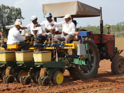 A sowing machine being operated on ICRISAT research fields. File photo: ICRISAT