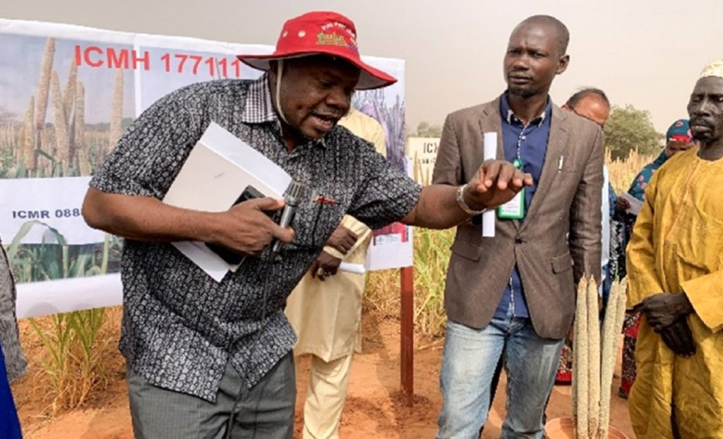 Mr Issoufou Maizama, President, APPSN, explaining the importance of hybrid pearl millet in Niger during the visit. Photos: PI Gangashetty, ICRISAT