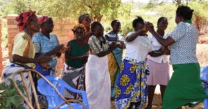 A group of women who are leading a push back to traditional grains dance in Marimanti ward of Kenya's Tharaka Nithi county. Photo: Eleanor Manyasa, ICRISAT