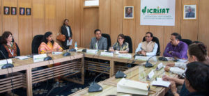 U.S. Consul General in Hyderabad Katherine Hadda and Dr. Trilochan Mohapatra interacting with media personnel at the ICRISAT headquarters in Hyderabad.
