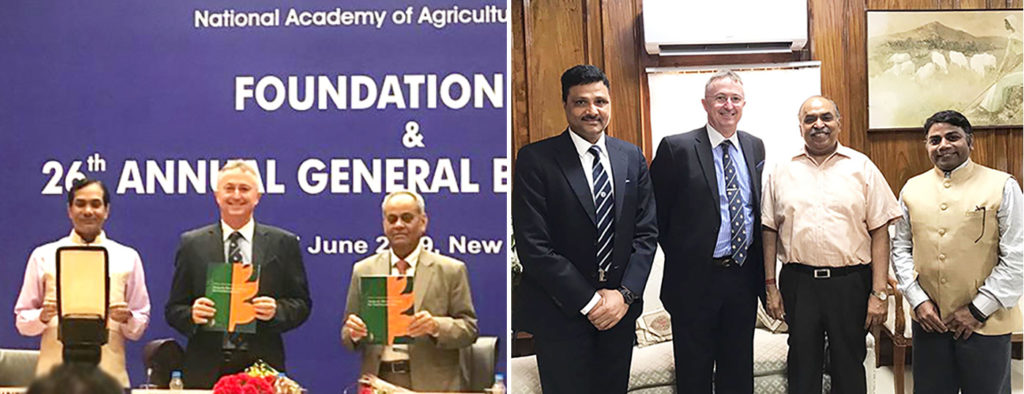 Left: Dr Trilochan Mohapatra, Secretary (DARE) and DG (ICAR) (Left); Dr Peter Carberry, Director General, ICRISAT (Center); and Dr Panjab Singh, President, Indian National Academy of Agricultural Sciences (NAAS), at the Foundation Day Lecture of NASS. Right: Mr Sanjay Agarwal, Agriculture Secretary, Government of India (3rd left) with Dr Carberry, Dr Arabinda Kumar Padhee, Director, Country Relations – ICRISAT (Extreme left) and Dr Rajeev Varshney, Research Program Director for Genetic Gains, ICRISAT. Photo: ICRISAT