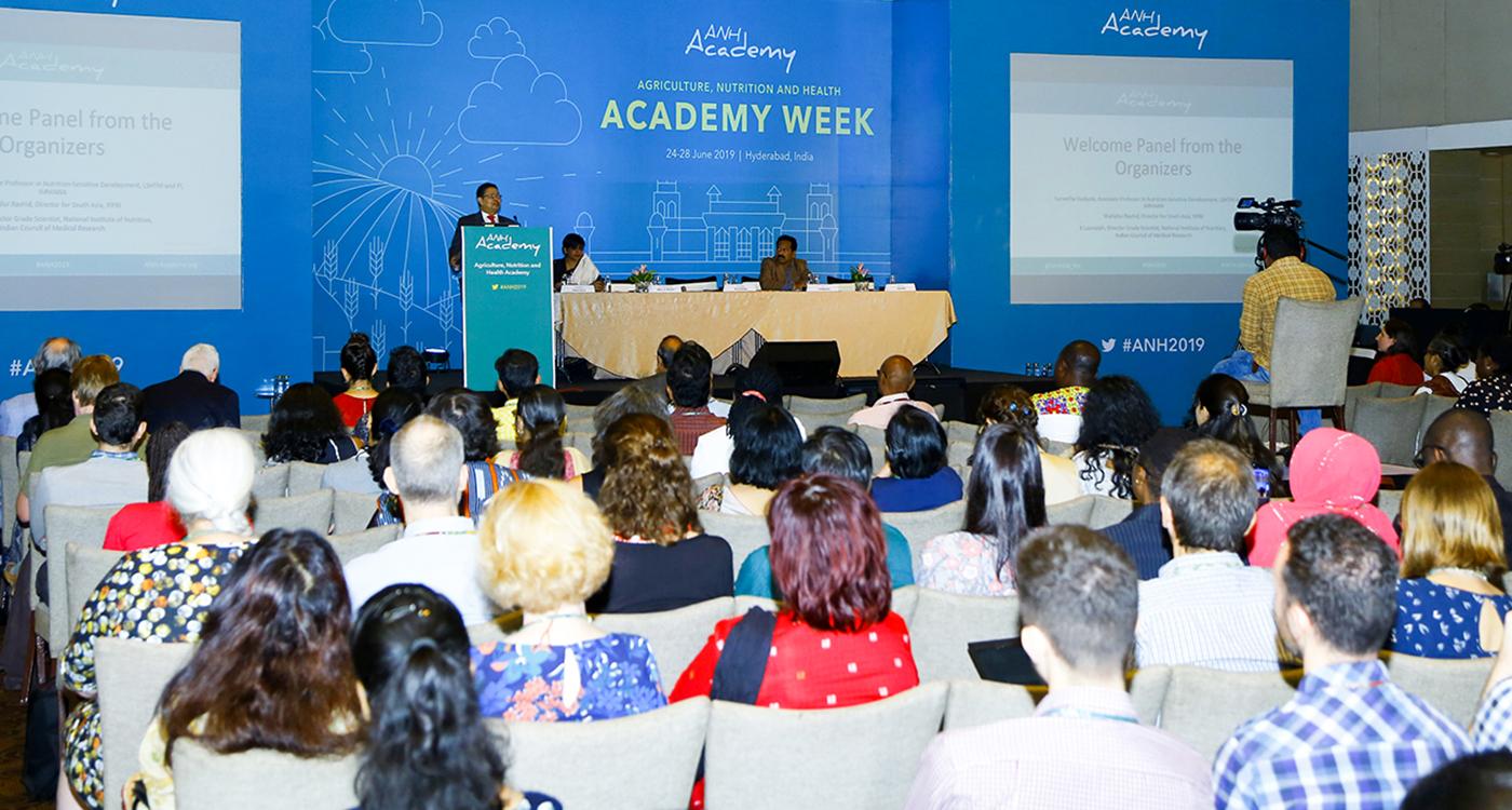 Dr Shahidur Rashid, IFPRI's South Asia Director, speaking at the ANH Academy Week 2019 . Photo: ICRISAT