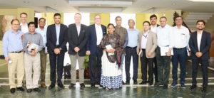 From Left to Right: Dr Javed Rizvi, World Agroforestry Centre; Dr Andre Zandstra, CGIAR; Dr Habibar Rahman, ILRI; Dr Ashutosh Sarker, ICARDA; Dr A K Padhee, IAS, ICRISAT; Dr Peter Carberry, ICRISAT; Dr Marco Ferroni, CGIAR; Ms Celine D'Silva, Bioversity; Dr Samarendu Mohanty, CIP; Dr A K Joshi, CIMMYT; Dr Shahidur Rashid, IFPRI; Dr Arun Padiyar, WorldFish; Dr Alok Sikka, IWMI; Dr Arvind Kumar, IRRI; and Mr Praveen Kumar, ICRISAT. Photo: ICRISAT