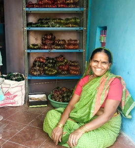 Kalavathi, a beneficiary of the watershed project, earns about `5000 by selling bangles. Photo: D Anil/ SBMMAS