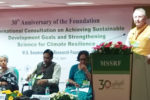 Dr Carberry delivering the keynote address at the gathering of global researchers and practitioners. Photo: ICRISAT