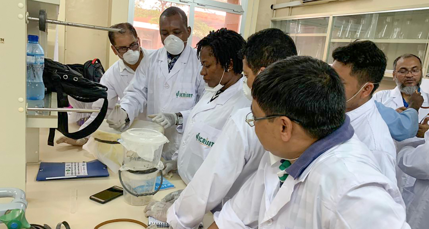Participants during a hands-on training session at ICRISAT-Niger Laboratory in Sadoré research station.