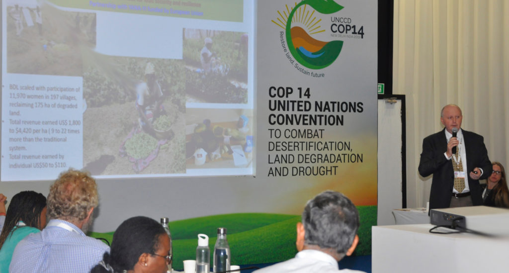Dr Anthony Whitbread speaks about the gender significance of land restoration in Niger. Photo: Susan Onyango, ICRISAT