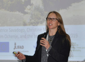 Dr Leigh Winowiecki highlights the significance of the research in development approach in achieving land restoration in sub-Saharan Africa. Photo: Susan Onyango, ICRISAT