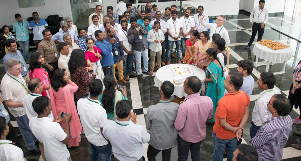 Celebrating the launch of the Crop Improvement Operations Team. Photo: S Punna, ICRISAT