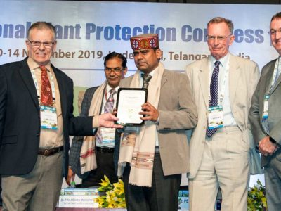 Dr Rajan Sharma, Head, Plant Quarantine Unit at ICRISAT, accepting an award for scientific achievement at IPPC2019. Photo: PS Rao, ICRISAT