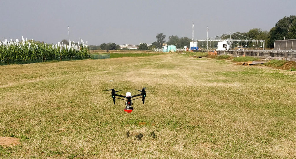 A drone set to take off for a flight in ICRISAT. Photo: C Sunita, ICRISAT