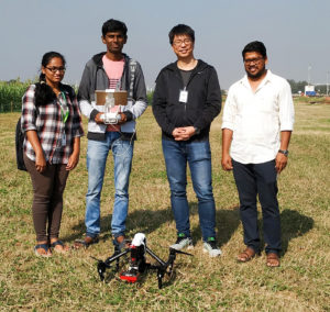 Members of the team collaborating in designing the SOP for using drones in crop phenotyping.
