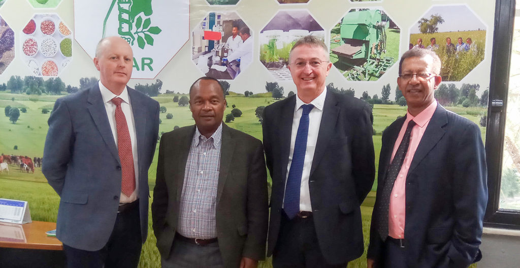 (L-R) Dr Whitbread; Dr Mandefro Nigussie, Director General, EIAR; Drs Carberry and Amede.