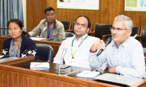 Dr NVPR Ganga Rao, Principal Scientist, ESA, ICRISAT, gives his feedback during the workshop. Photo: S Punna, ICRISAT