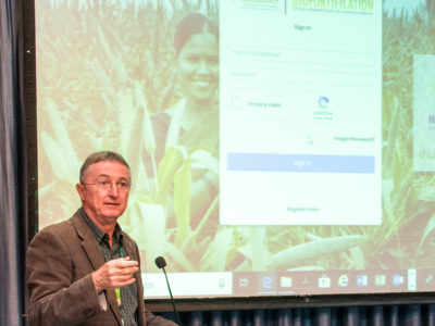 Dr Peter Carberry, Director-General, ICRISAT, launches the online XRF platform. Photo: S Punna, ICRISAT