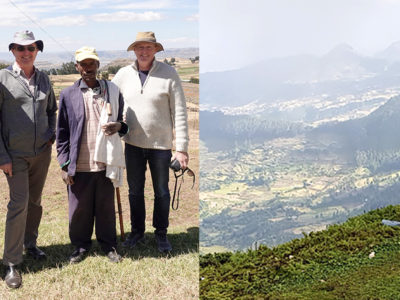 (Left) Dr Tilahun Amede, Country Representative, ICRISAT-Ethiopia; Dr Peter Carberry, Director General, ICRISAT; a farmer from the Ethiopian highlands and Dr Anthony Whitbread, Research Program Director, Innovation Systems for the Drylands, ICRISAT (Right) Upstream-downstream views of the Ethiopian highlands. Photos: ICRISAT-Ethiopia