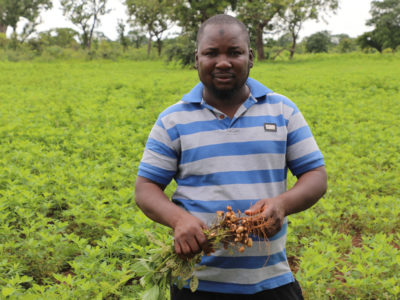 Mr Khalid Abukari Giwah, a civil servant turned seed producer, on his groundnut farm in Tatuani village, Ghana. Photo: M Magassa