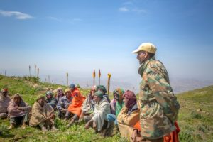 Highland Yewol farmers meet to discuss project plans. Photo: Mulugeta Ayene/WLE