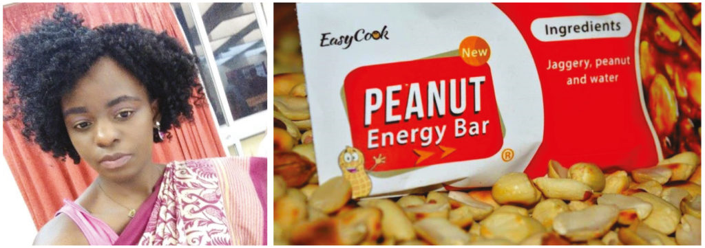 Ms Chiumphe Sarah Lungu, a nutriprenuer from Zambia, manufactures an India-inspired peanut bar. Photos: AIP, ICRISAT
