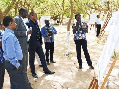 Dr Paco and Dr Tabo watching a poster presentation by …… along with other scientists. Photos: N Diakite, ICRISAT