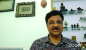 A screenshot of Dr Padhee participating in the webinar.