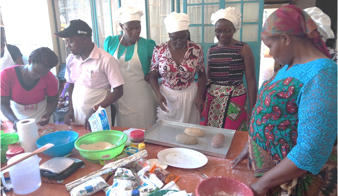 County Home Economics and Agribusiness officers attend the training on hygiene, product formulation, nutrition and enterprise development in Kiboko, Kenya.