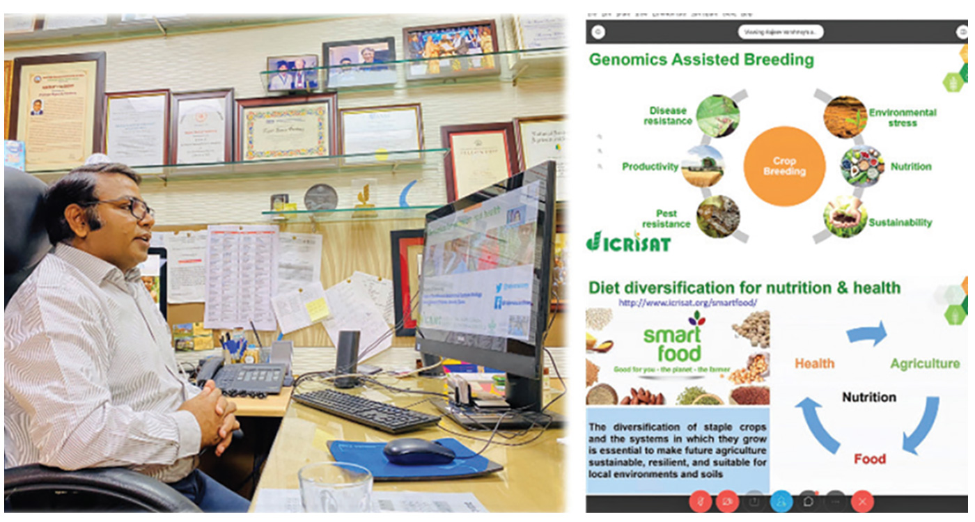 Dr Varshney delivering an online lecture 'Genomics for health and nutrition'. Photo: CEGSB, ICRISAT