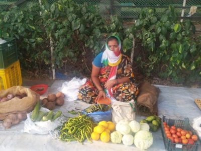 A woman selling vegetables and eggs from the slum of srinagar colony hyderabad.Photo: R Padmaja, ICRISAT