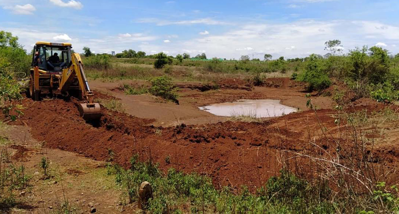 With the support of a local NGO, construction has been able to start. Farmers have been taking the silt to be used in their fields as a way of supporting the soil.