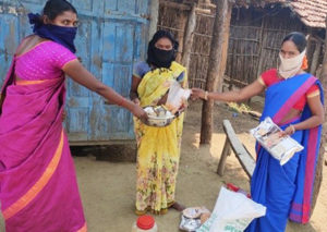 Giri Poshana food products being distributed to tribal women in Eturunagaram. Photo: ICRISAT