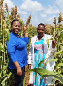 Dr Rebbie Harawa (L) with farmer Betty Bondo during a field visit to the USAID-funded AVCD project in Makueni, Kenya. Photo: ICRISAT