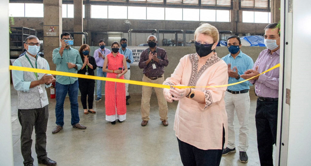 Dr Jacqueline Hughes, Director General, ICRISAT, inaugurates the seed processing facility.