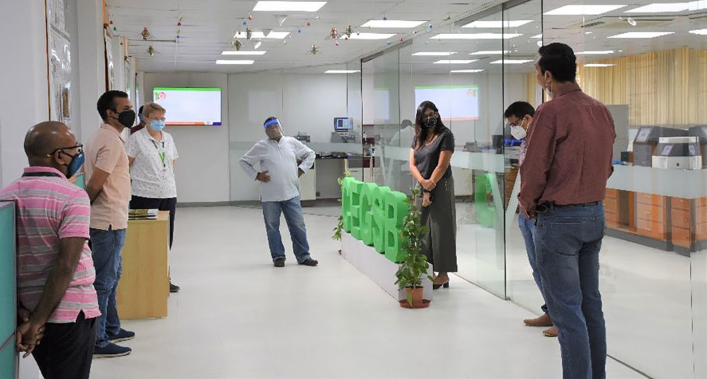 (L-R) Dr Mahendar Thudi, Dr Rachit Saxena, Dr Jacqueline Hughes, Dr Rajeev Varshney, Ms Anu Chitikineni, Dr Manish Pandey and Dr Rakesh Srivastav during the tour of the facilities. Photo: CEGSB