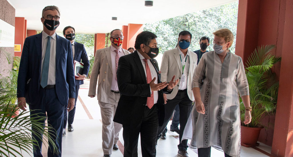 (left to right) High Commissioner Ellis, Lord Ahmad and Dr Jacqueline Hughes, Director General, ICRISAT, up on the arrival of the UK delegation at ICRISAT. Photo: PS Rao, ICRISAT