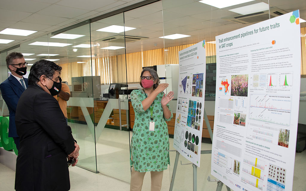 Dr Pooja Bhatnagar, Theme Leader - Cell, Molecular Biology & Genetic Engineering, explains the use of new crop breeding techniques to Lord Ahmad.