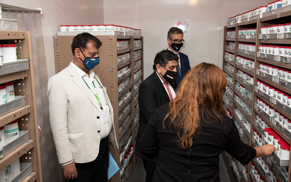 Lord Ahmad at the ICRISAT Genebank, which is one of the world's largest collections of dryland cereals and legumes.