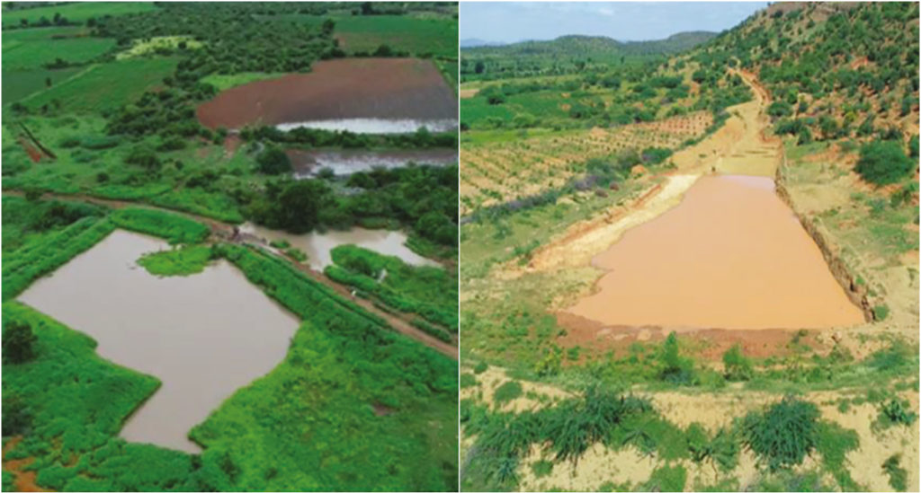 Percolation tank and sunken pits built on a stream in Patnikota village of Kurnool district. (R) Desilted percolation tank in the downstream village of Ayyavaripalli in Anantapur district, Andhra Pradesh state, India.